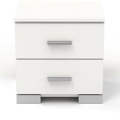 Chevet 2 tiroirs blanc - HUGO