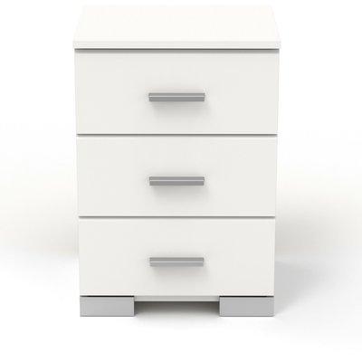 Chevet 3 tiroirs blanc - HUGO