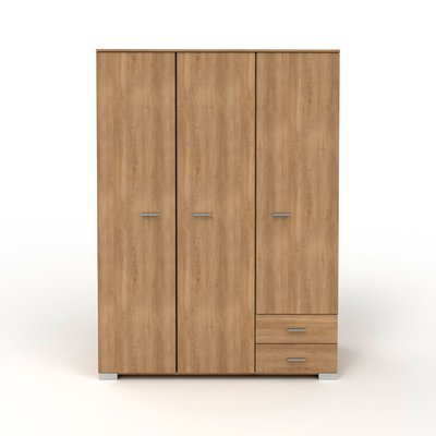 Armoire 3 portes et 2 tiroirs 140,5x203x55 cm naturel - CANDICE