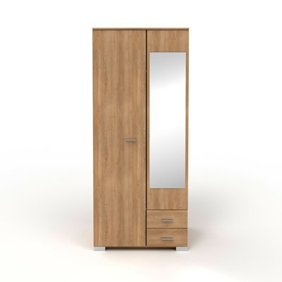 Armoire 2 portes et 2 tiroirs 90x202,8x55 cm naturel - CANDICE