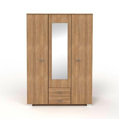 Armoire 3 portes et 2 tiroirs 140,5x202,8x55 cm naturel - CANDICE