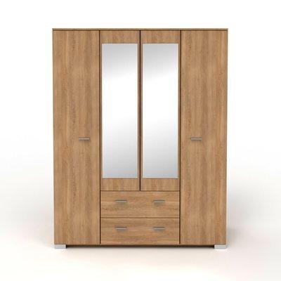 Armoire 4 portes et 2 tiroirs naturel 166,5x202,8x55 cm - CANDICE