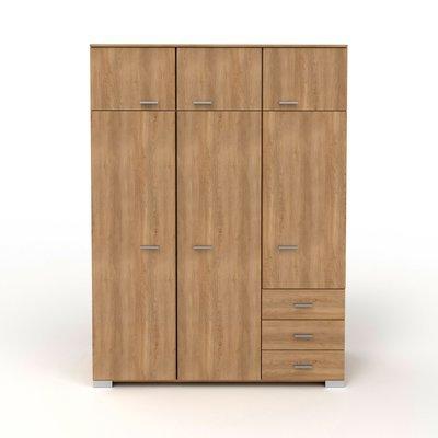 Armoire 6 portes et 2 tiroirs 146x203x55 cm naturel - CANDICE