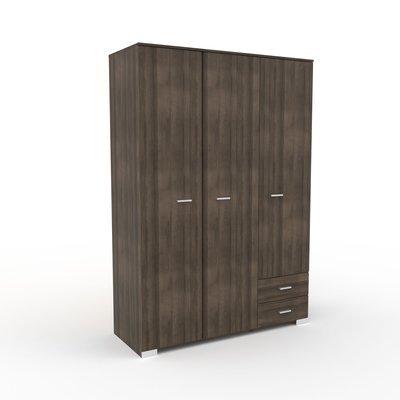 Armoire 3 portes et 2 tiroirs 140,5x203x55 cm chêne foncé - LIVIO