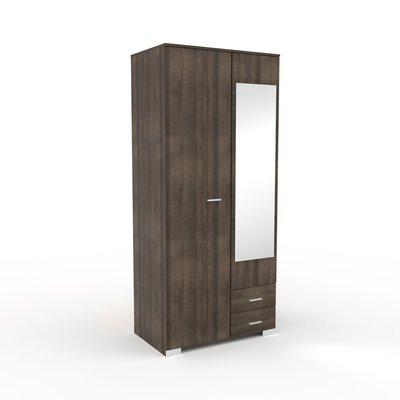Armoire 2 portes et 2 tiroirs 90x202,8x55 cm chêne foncé - LIVIO