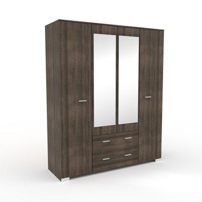 Armoire 4 portes et 2 tiroirs chêne foncé 166,5x202,8x55 cm - LIVIO