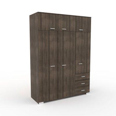 Armoire 6 portes et 2 tiroirs 146x203x55 cm chêne foncé - LIVIO