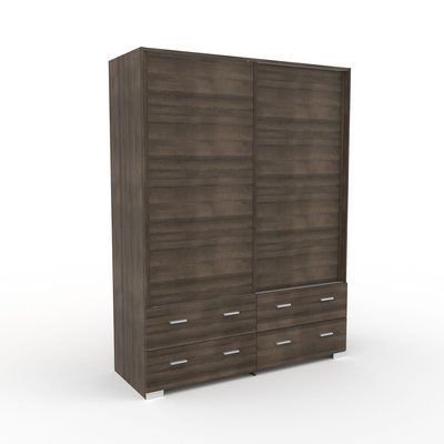 Armoire 2 portes et 4 tiroirs 152,7x202,8x56,5 cm chêne foncé - LIVIO