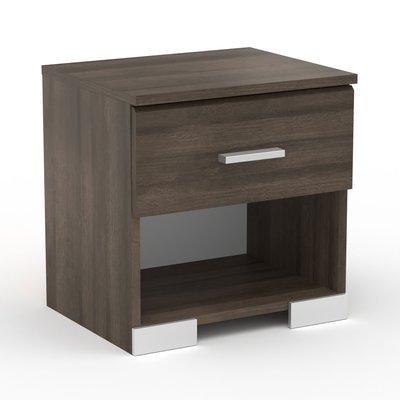 Chevet 1 tiroir chêne foncé - LIVIO