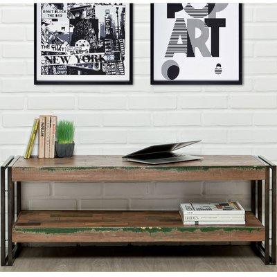 Meuble TV 120 cm double plateaux en teck recyclé - TUNDRA