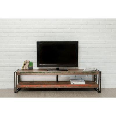 Meuble TV 160 cm double plateaux en teck recyclé - TUNDRA