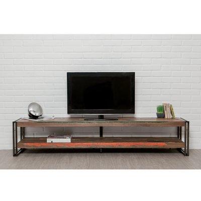 Meuble TV 200 cm double plateaux en teck recyclé - TUNDRA