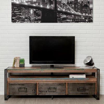 Meuble TV 3 tiroirs en métal et teck recyclé - TUNDRA