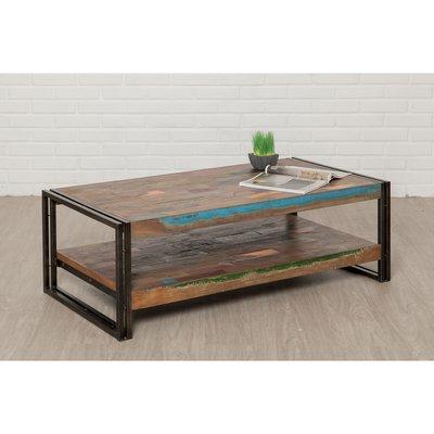 Table basse 120 cm double plateaux en teck recyclé - TUNDRA