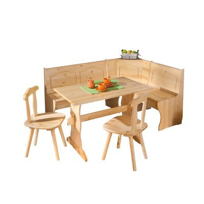 Ensemble table + banc + 2 chaises en pin massif - CHAMONIX