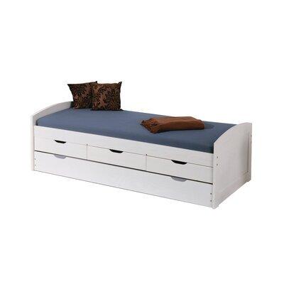 Lit gigogne 90x190 cm avec 3 tiroirs en pin massif blanc - CHAMBERY