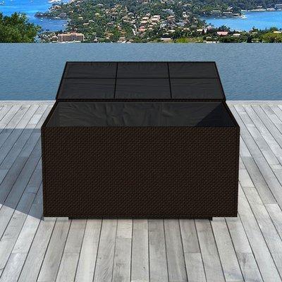 Coffre de rangement en résine tressée 132x63x81 cm marron - LIVOURNE