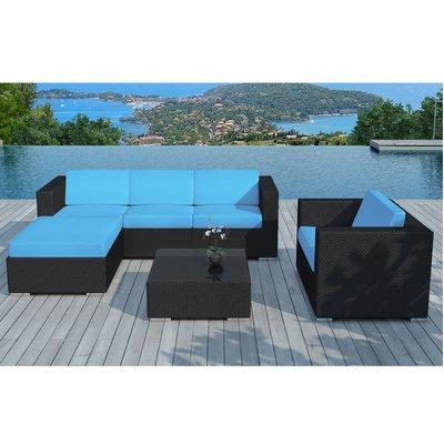 Salon de jardin 5 places en résine tréssée noire et coussins bleus