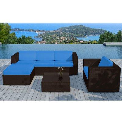 Salon de jardin 5 places en résine tréssée marron et coussins bleus