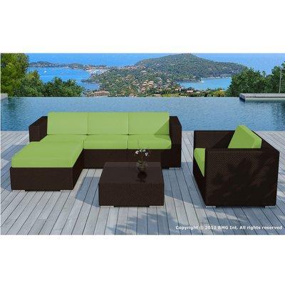 Salon de jardin 5 places en résine tréssée marron et coussins verts