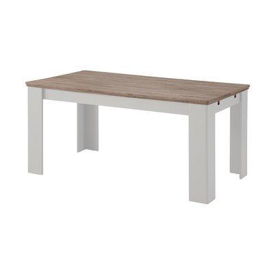 Table à manger 160/239x90x75 cm blanc et naturel - YAMAE
