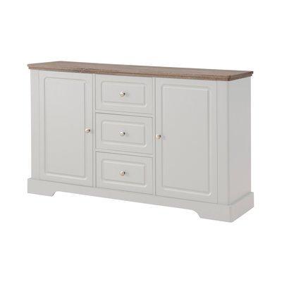 Buffet 2 portes et 3 tiroirs blanc et naturel - YAMAE