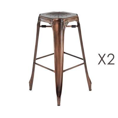 Lot de 2 tabourets de bar assise 63 cm en cuivre vieilli - TALY