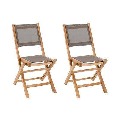 Lot de 2 chaises pliantes en teck et textilène - GARDENA