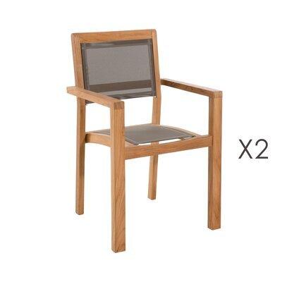 Lot de 2 fauteuils empilables en teck et textilène - GARDENA