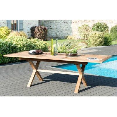 Table rectangulaire 180/240 cm pieds croisés en teck - GARDENA