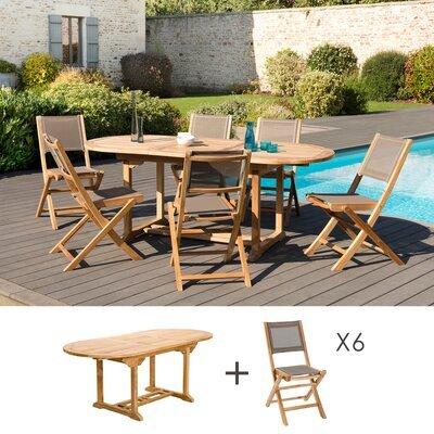 Ensemble table 150/200 cm + 6 chaises en teck et textilène - GARDENA