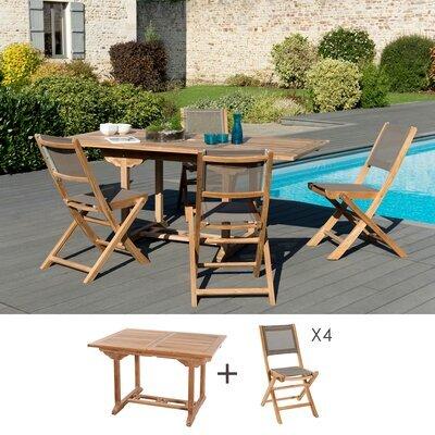Ensemble table 120/180 cm + 4 chaises en teck et textilène - GARDENA
