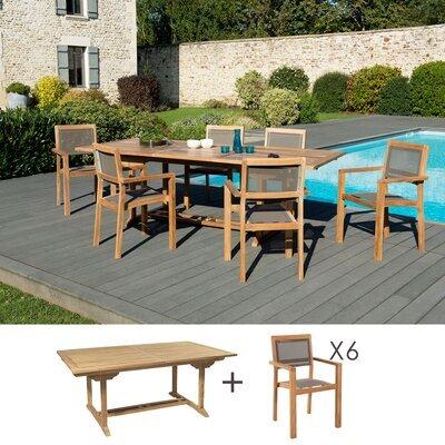 Ensemble table 180 cm + 6 fauteuils en teck et textilène - GARDENA