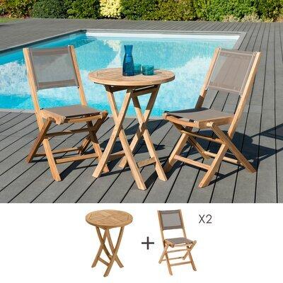 Ensemble table ronde 60 cm + 2 chaises en teck et textilène - GARDENA