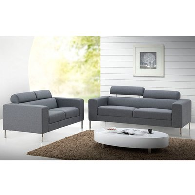 Canapé 3 places fixe en tissu gris - MALAGA