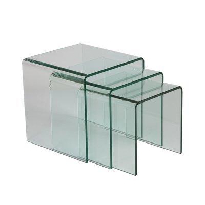 Lot de 3 tables gigognes en verre trempé - GLASS