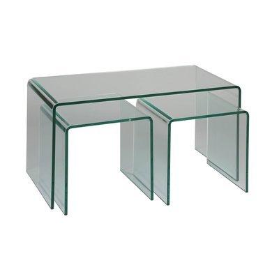 Lot de 3 tables basses en verre trempé - GLASS