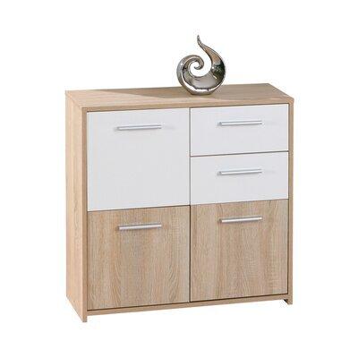 Commode 3 portes et 2 tiroirs chêne et blanc - CONCRETE