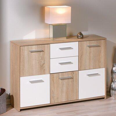 Commode 5 portes et 2 tiroirs chêne et blanc - CONCRETE