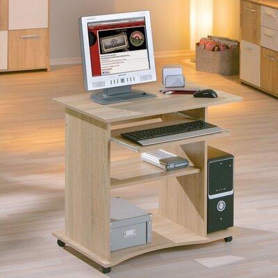 Bureau informatique 80x75x50 cm avec roulettes naturel - PROCESS