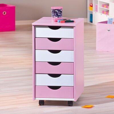 Caisson 6 tiroirs sur roulettes rose et blanc - MODULAR