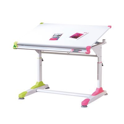 Bureau multifonction 100x69/84x66 cm blanc et rose ou vert - MODULAR