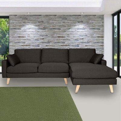 Canapé d'angle à droite en tissu gris anthracite - ALTA