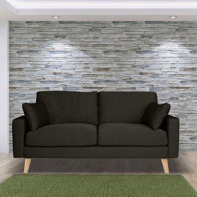 Canapé 2 places fixe en tissu gris anthracite - ALTA