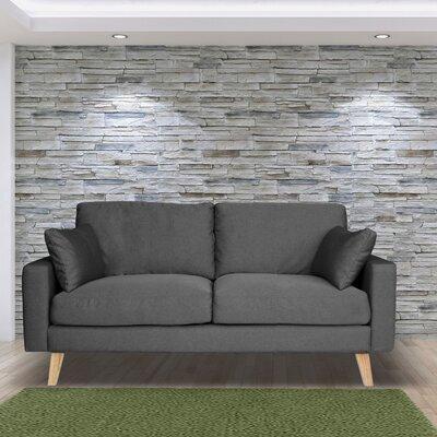 Canapé 2 places fixe en tissu gris - ALTA