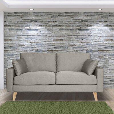 Canapé 2 places fixe en tissu gris clair - ALTA