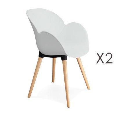 Lot de 2 chaises coque plastique blanc - NOVAK