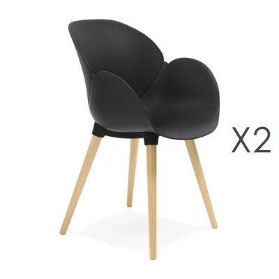 Lot de 2 chaises coque plastique noir - NOVAK