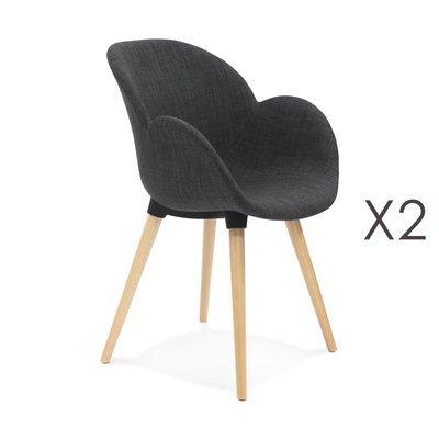 Lot de 2 chaises en tissu gris - NOVAK
