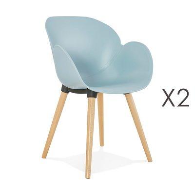 Lot de 2 chaises coque plastique bleu - NOVAK